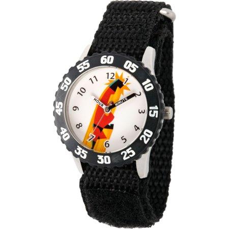 Black Bezel Watch - Disney Incredibles Bob Parr Boys' Stainless Steel Time Teacher Watch, Black Bezel, Black Hook and Loop Nylon Strap
