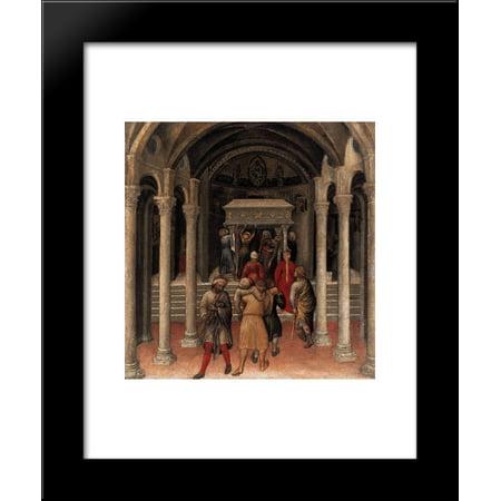 Quaratesi Altarpiece, Pilgrims at the Tomb of St.Nicholas of Bari 20x24 Framed Art Print by Gentile da Fabriano