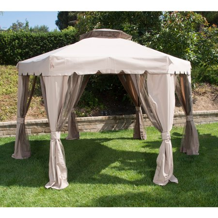 portable hexagon patio gazebo with double roof brown 12