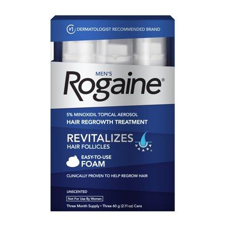 Men's Rogaine 5% Minoxidil Foam for Hair Regrowth, 3-month Supply Mens Hair Regrowth Treatment