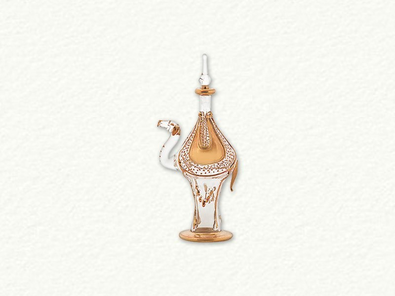 Clear and Gold Camel Egyptian Blown Glass Perfume Bottle by Egyptian Museum