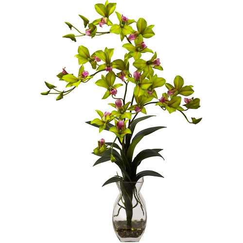Nearly Natural Dendrobium Orchid with Vase Arrangement, Green