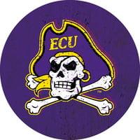 "East Carolina ECU Pirates NCAA NCAA Collegiate Distressed Wood Grain Trendy 4"" Round Decal Sticker"