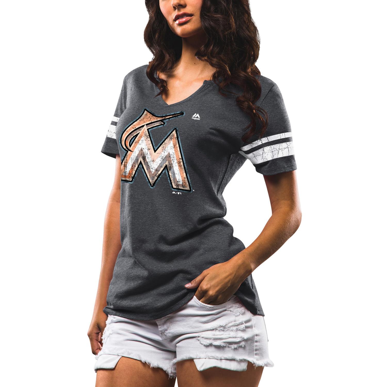 Miami Marlins Majestic Women's Slugging Percentage V-Notch T-Shirt - Charcoal/White