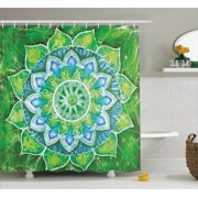 Mandala Decor Shower Curtain Set, Grand Mandala With Leaf Forms Symbol Of Nature And Zen Green Decor Boho Style Print, Bathroom Accessories, 69W X 70L Inches, By Ambesonne
