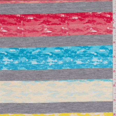 Aqua/Red/Yellow Marble Stripe T-Shirt Knit, Fabric By the Yard