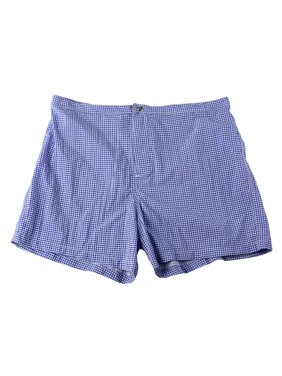 PAL ZILERI Men's Houndstooth Print Swim Trunks Blue/White