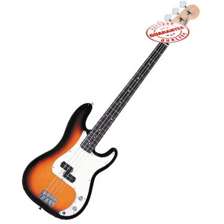 Electric Bass Guitar with Bag, Strap and Tuner, Sunburts