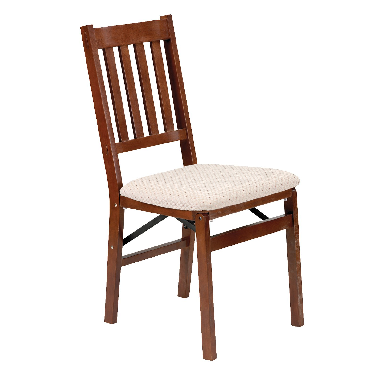 Arts and Craft Harwood folding chair with blush upholstery - Light Cherry