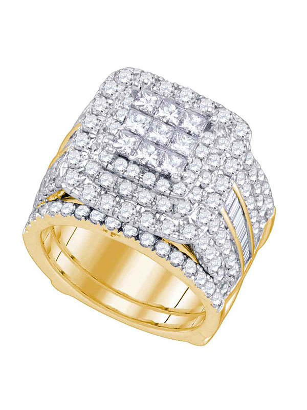 14kt Yellow Gold Womens Princess Diamond Bridal Wedding Engagement Ring Band Set 4.00 Cttw by GND