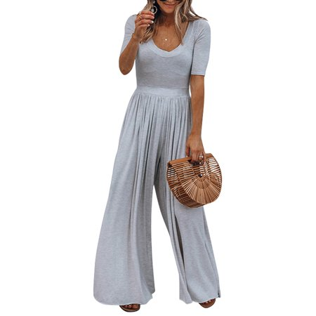 Wide Leg Jumpsuit for Women Casual Clubwear Loose Pants Outfits V Neck Short Sleeve Playsuit Summer Beach Holiday Romper ()