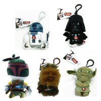 "Star Wars 4"" Talking Plush Clip On Set of 5 with R2-D2, Yoda, Vader & More"