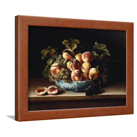Peaches and Grapes in a Blue and White Chinese Porcelain Bowl Fruit Still Life, 1634 Framed Print Wall Art By Louise Moillon