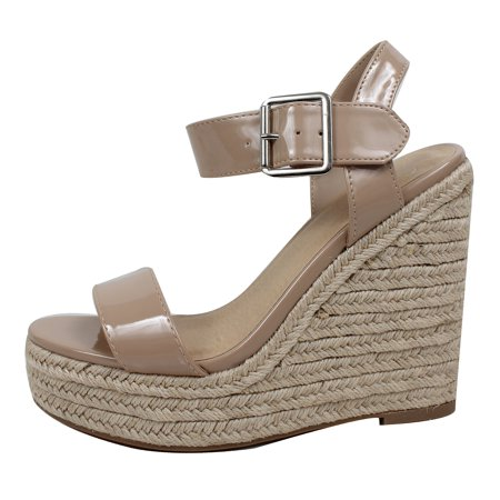 6ad685eacc8 Delicious Women's Open Toe Faux Leather Patent Espadrille Platform Wedge  (Beige, 8.5 B(M) US)