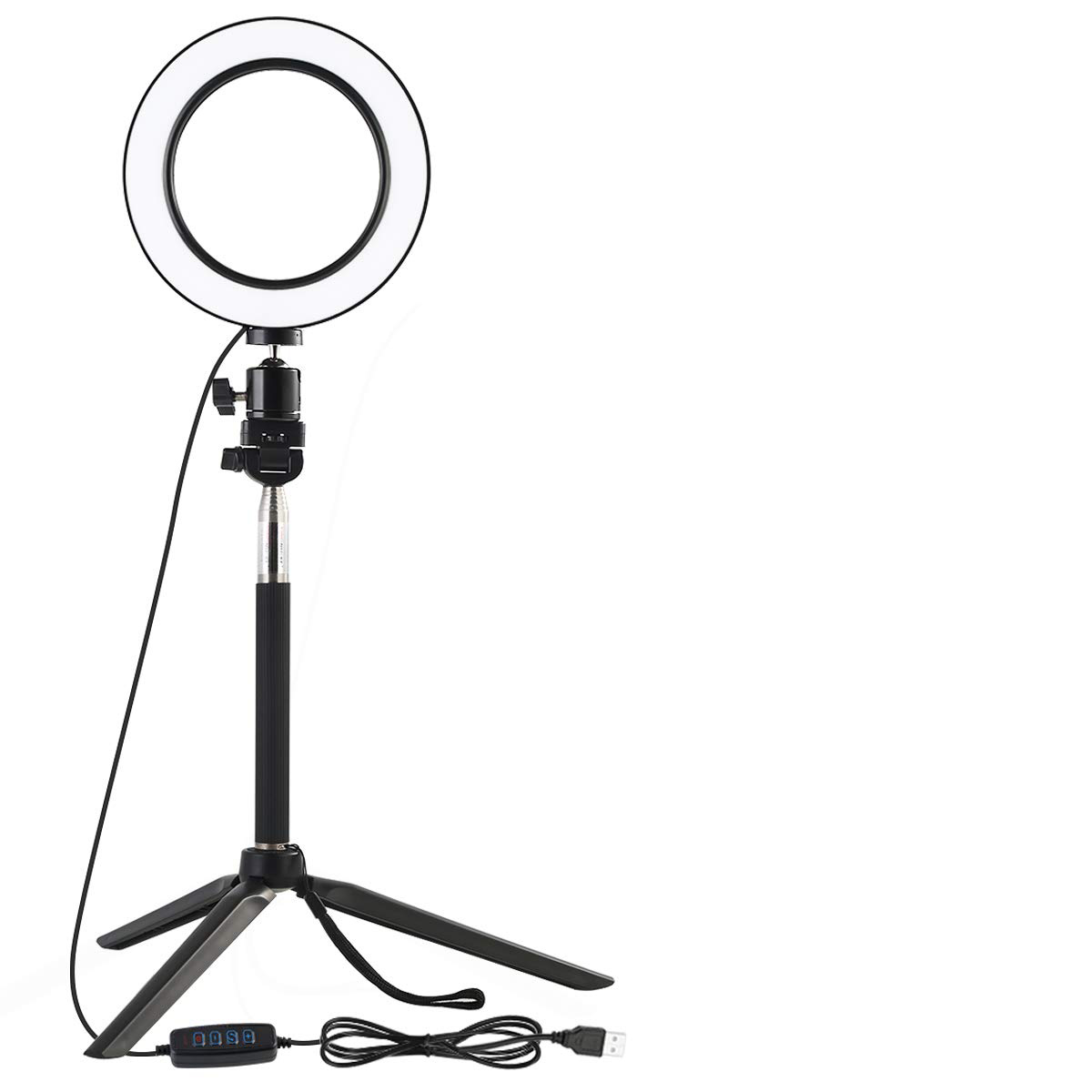Ball Head LED Ringlight Make Up Light with Tripod Stand Phone Holder Dimmable 3 Light Modes and 10 Brightness Level for YouTube Video and Makeup Middle Pole 6 inch