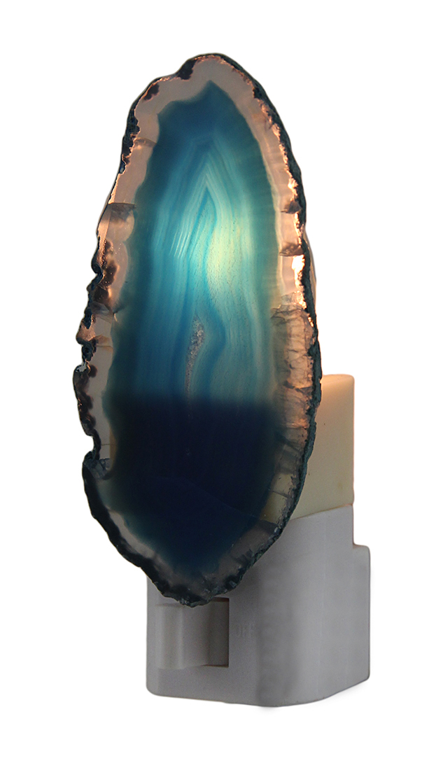 Blue Crystal Polished Brazilian Agate Night Light Nite Lite by Village Originals