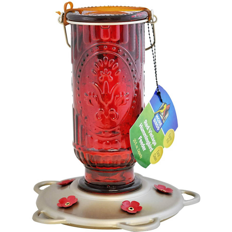 More Birds 60 20 oz Capacity Red Vintage Hummingbird Feeder