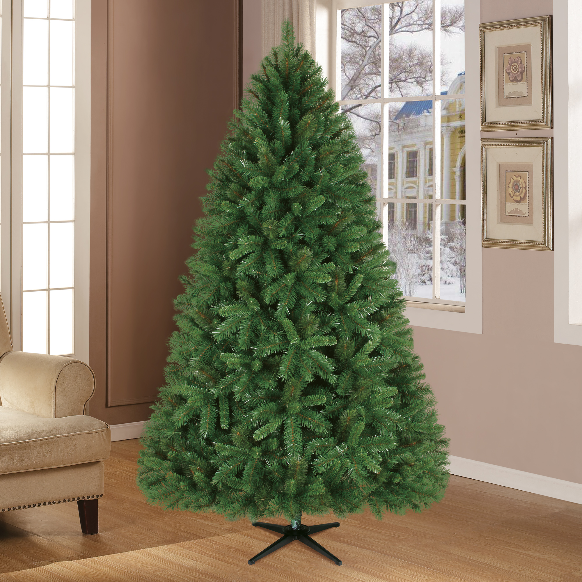 Holiday Time 7.5ft Unlit Donner Fir Artificial Christmas Tree ...