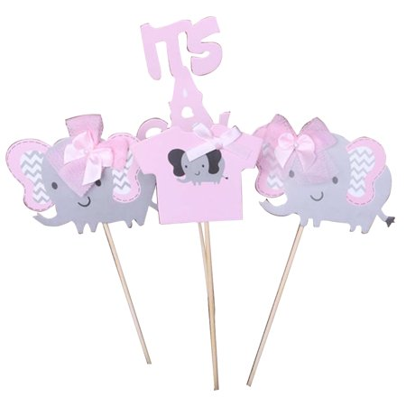 Elephant Cake Topper (4PCS Cake Topper,Justdolife Cute It's A Girl/ Boy Elephant Decor Cupcake Topper Party Decor Topper for Baby Shower)