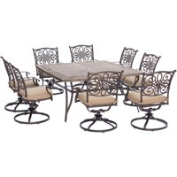 Carolina Factory Direct Springfield 9-Piece Dining Set in Tan with Large 60 In. Square Cast-Top Dining Table