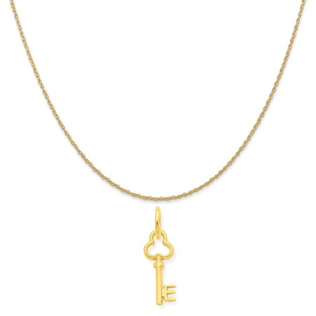 14k Yellow Gold E Key Charm on a 14K Yellow Gold Rope Chain Necklace, 20""