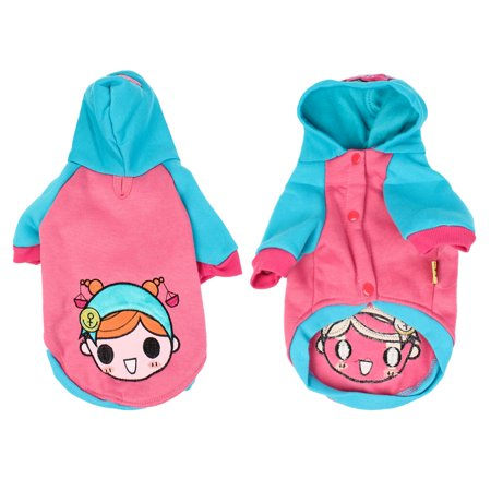 Unique Bargains Warm Pink Blue Single Breasted Hooded Cartoon Girl Print Pet Dog Coat Costume M
