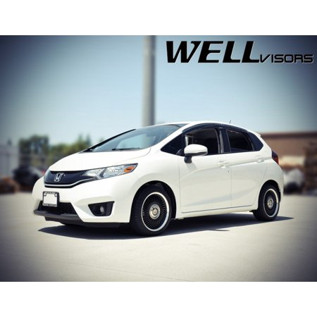 WellVisors Replacement for 2015-Present Honda Fit Clip-ON Chrome Trim Smoke Tinted Side Rain Guard Window Visors Deflectors 3-847HD021