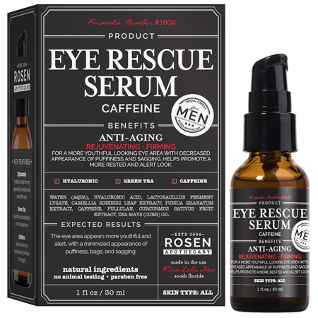 - Rosen Apothecary Men's Eye Rescue Serum for Youthful Looking Eye Area 1oz / 30ml