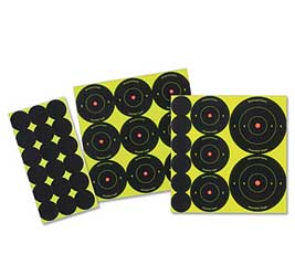 "Shoot•N•C® 1"", 2"", 3"" Bull's-eye Targets (72 - 1"", 36 - 2"" & 24 - 3"") 12 sheets"