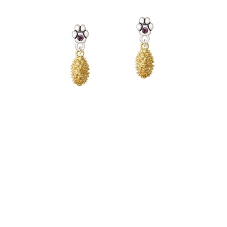 Gold Tone Pine Cone - Purple Crystal Paw Earrings