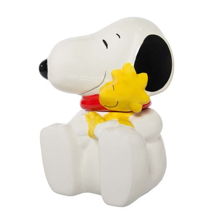 """(Gibson Peanuts Snoopy & Woodstock Large 10.5"""" Ceramic Cookie Jar With Lid Decorative Collectibles)"""
