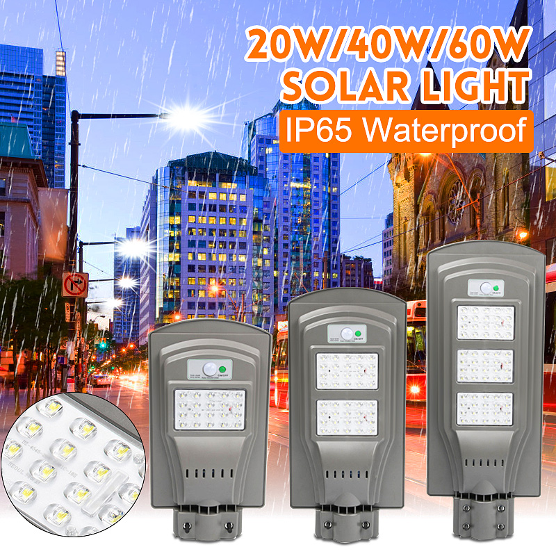20W/40W/60W LED Solar Power Light PIR Motion Sensor Outdoor Wall Street Lamp