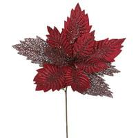 "Vickerman 22"" Burgundy Poinsettia 15"" Flower 6/Bag"