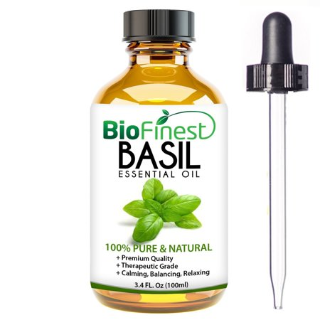 BioFinest Sweet Basil Oil - 100% Pure Sweet Basil Essential Oil - Premium Organic - Therapeutic Grade - Aromatherapy - Ease Fatigue and Flu - Remove Odors - FREE E-Book and Dropper (100ml)