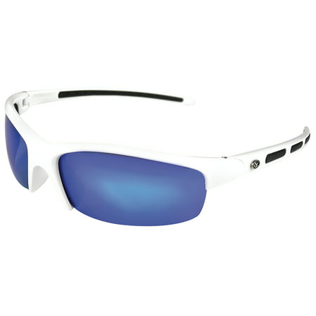 41383 Snook Polarized Sunglasses with Blue Mirror Lenses & White Frame