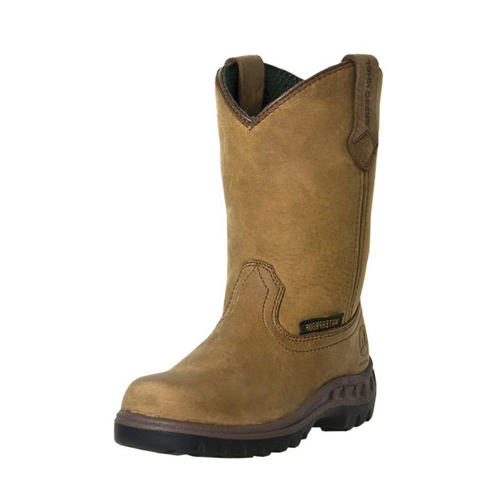 John Deere Work Boots Boys Kids Tramper Leather Waterproo...