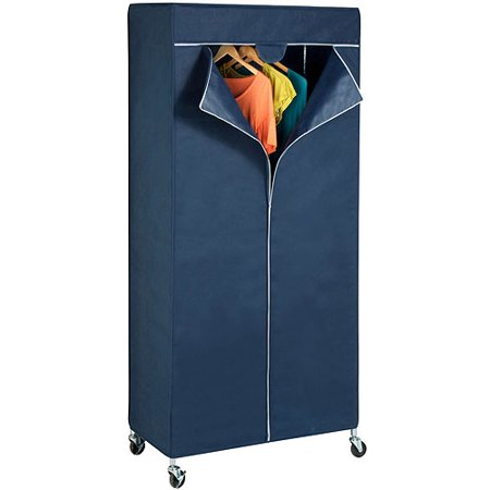 Honey Can Do Garment Rack Cover with Triple Zippered Opening, Blue