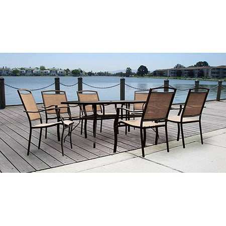 Mainstays Sand Dune Piece Patio Dining Set Seats Walmart Com