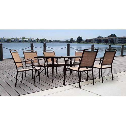 mainstays sand dune outdoor patio dining set metal sling 7 piece tan