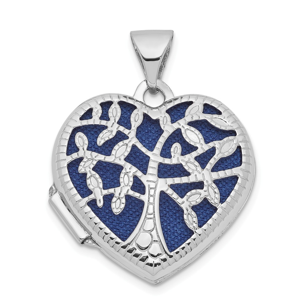 14k White Gold 18mm Heart w/Tree Locket