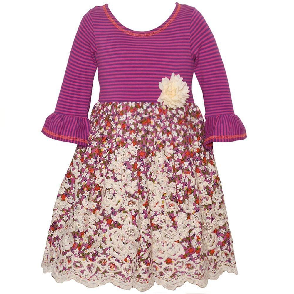 Bonnie Jean Little Girls Purple Stripe Floral Flared Cuff...