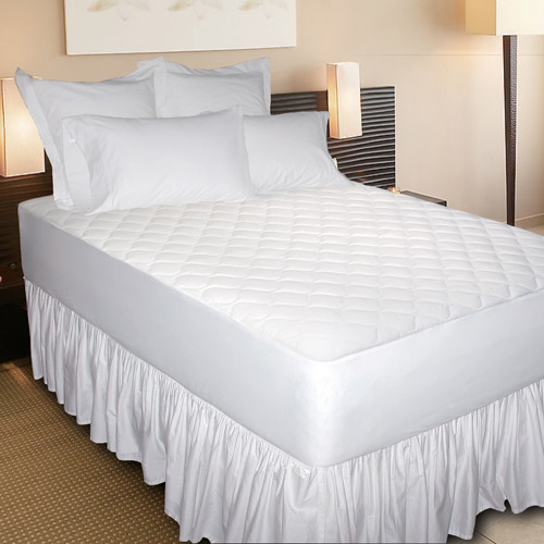 Newpoint 300-Thread Count Cotton Jacquard Mattress Pad, White