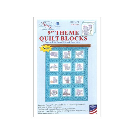 - Jack Dempsey Themed Stamped White Quilt Blocks, 9