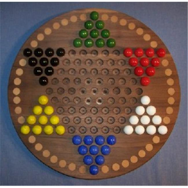 18 in. Circle Oiled Chinese Checkers Wooden Marble Game Board with 42 Birch Inlaid Spots , Black Walnut by ThinkandPlay