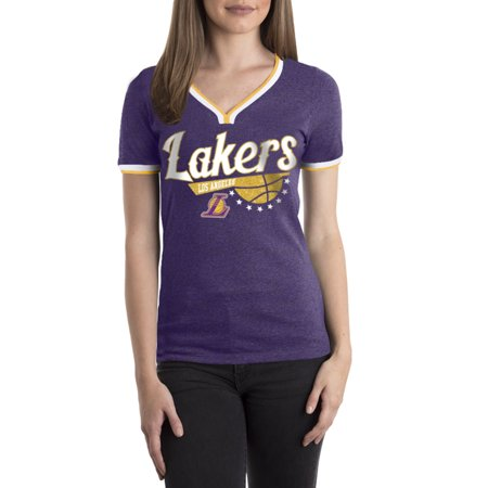 Los Angeles Lakers Team Store - Los Angeles Lakers Women's NBA Short Sleeve Biblend V Notch Scoop Neck Tee