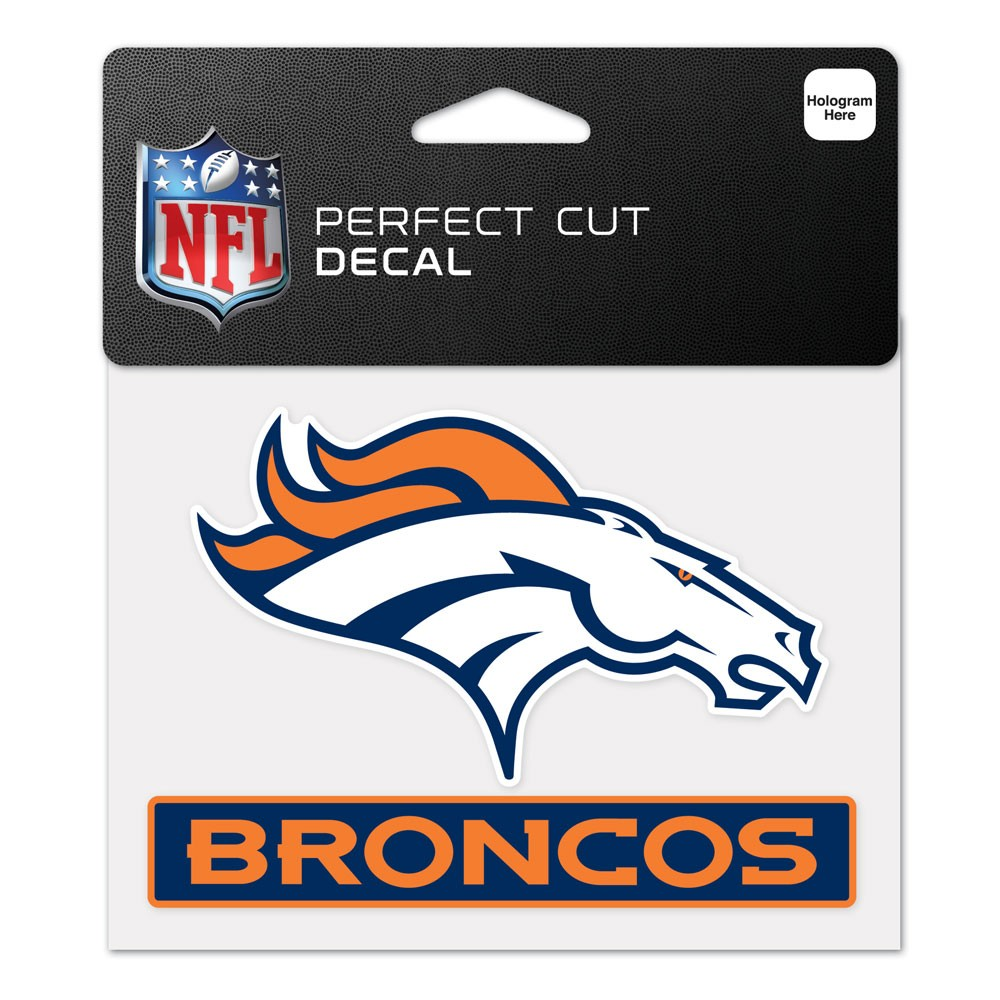 Denver Broncos Official NFL 4.5 inch  x 5.75 inch  Perfect Cut Car Decal by Wincraft