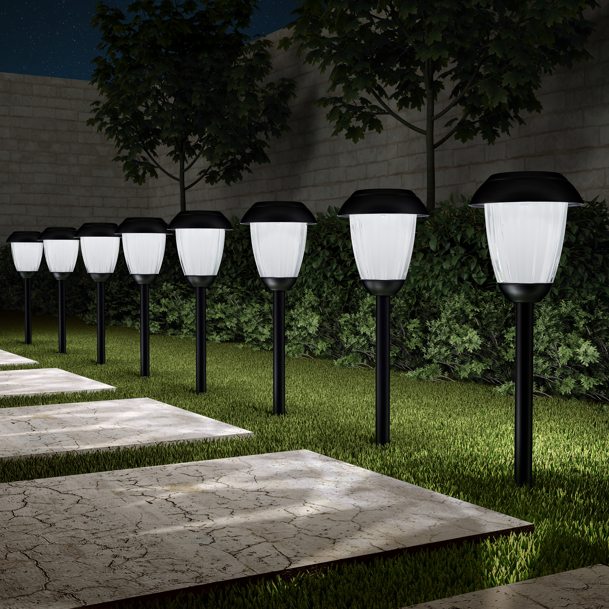 """Solar Path Lights, Set of 8- 16"""" Tall Stainless Steel Outdoor Stake Lighting for Garden, Landscape, Yard, Driveway, Walkway by Pure Garden (Copper)"""