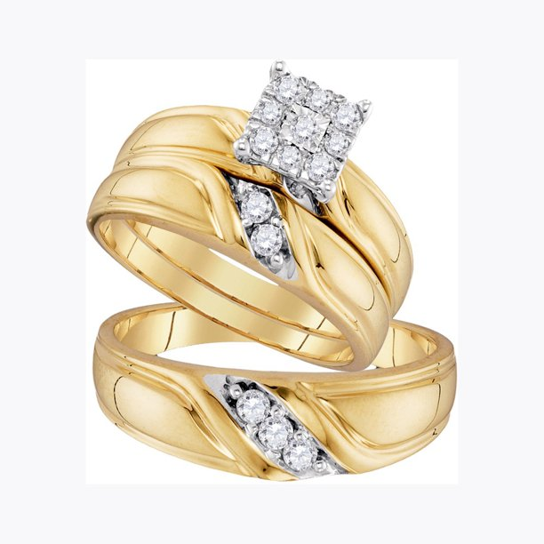 Sizes - L = 5.5, M = 11.5 - 10k Yellow Gold Trio His & Hers Round Diamond Cluster Matching Bridal Wedding Ring Band Set (1/3 Cttw)