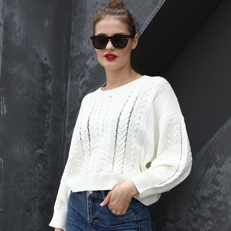 New Winter Women Knitted Sweater Cable knit O neck Long Sleeve Solid Oversized Warm Pullover Blouse Short Tops White
