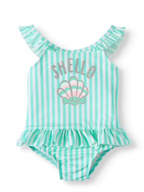 Wonder Nation Baby Girl Magnetic Closure Ruffle Swimsuit
